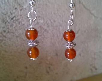 Red orange carnelian earrings