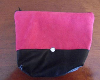 POUCH of makeup suede and faux leather