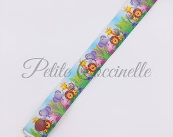 Pacifier animal Ribbon, green flower clip
