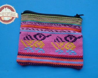 clutch purse ethnic pattern pink geometric rectangle 8x10cm