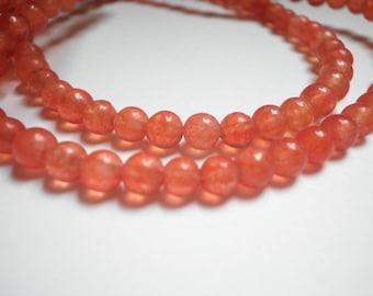 4 mm Orange dragon veins agate 20 beads