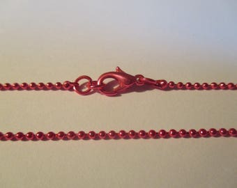 Colored metal chain fuchsia necklace ball 40 cm approx