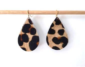 Leopard LEATHER teardrop earrings lightweight earrings metallic leather earrings hair on leather earrings animal print drop earrings