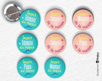 Lot de 8 Super badges Mariage