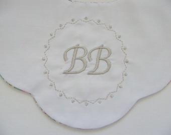 Bib flower LIBERTY Betsy Ann pink embroidered birth 1/3/6/9/12 months