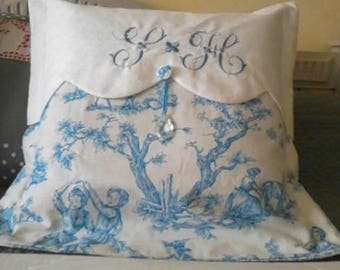 machine embroidered white canvas and French blue toile de jouy Cushion cover