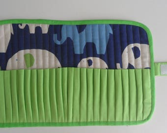 Case pencils or markers, 24 compartments elephants fabric, fully lined, neat work