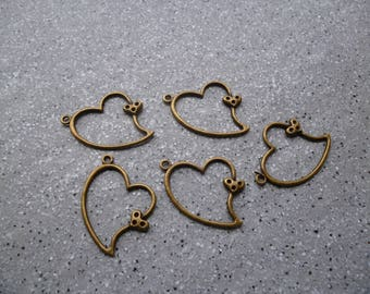 5 charms bronze metal heart
