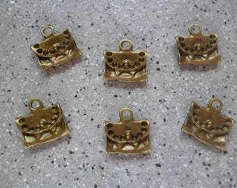 6 bags made of bronze metal charms
