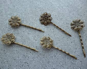 5 snap clips, hair clips bronze metal flower