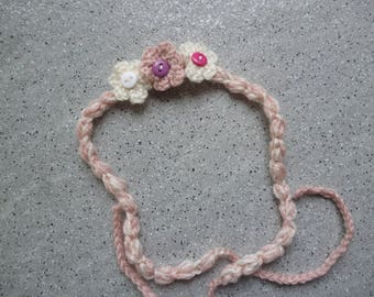 Kids headband, headband decorated with three flowers hand made crochet
