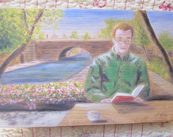 Man reading acrylic painting on wooden panel