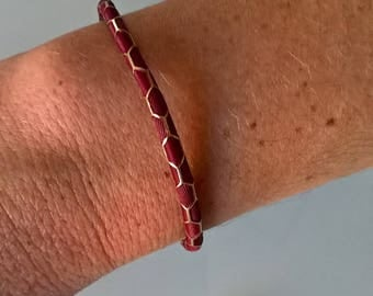 Pretty Burgundy and gold leather bracelet