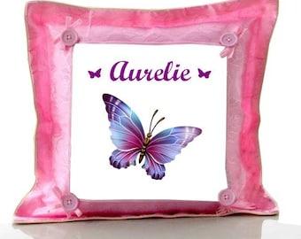 Coussin rose Papillon personnalisé avec prénom