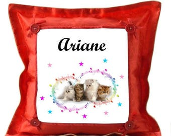 Red kittens pillow personalized with name