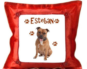 Pitbull red pillow personalized with name