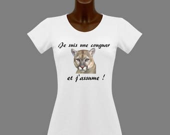 T-shirt women white humor I'm a Cougar and...