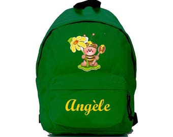Green Bee backpack personalized with name