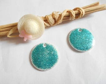x 2 sequins enamelled white and blue glitter