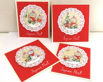 set of 4 Christmas cards - handmade-