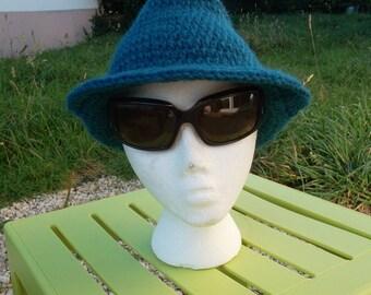 """Blue crochet yarn hat """"medora"""""""