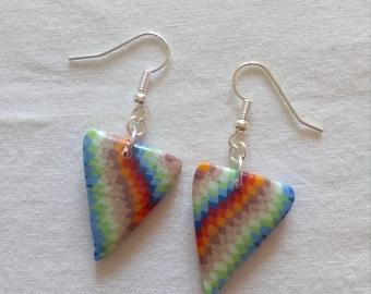 Bargello triangle earrings