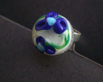 Small vintage ring - blue flowers - made Lampwork Glass
