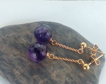 Gold earrings and Amethyst briolette 10 mm