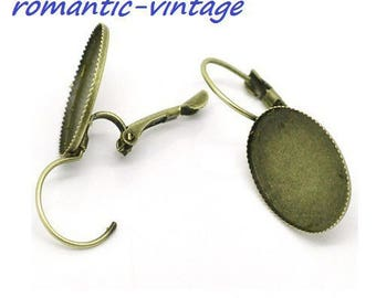 2 pairs of earrings sleepers bronze for 25 * 18mm cabochon