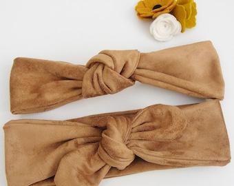 Bandeaux / headbands effet daim tout doux beige