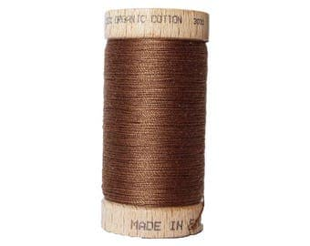 Thread 100% cotton brown organic - 100 meters - certified eco-friendly