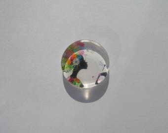 Cabochon 25 mm round and flat image of woman with dragonfly