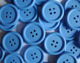 Blue wooden buttons