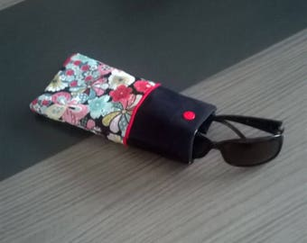 Glasses floral cotton and Black Suede case