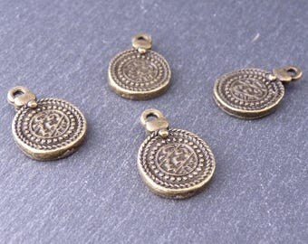 5 charms Charms sequined Pieces with writing, ethnic/oriental style / Oriental Beads, 18 x 12 mm - toned bronze (BP1813)