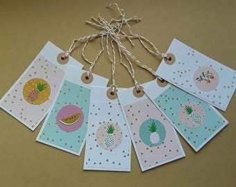 Set of 6 tropical themed gift tags