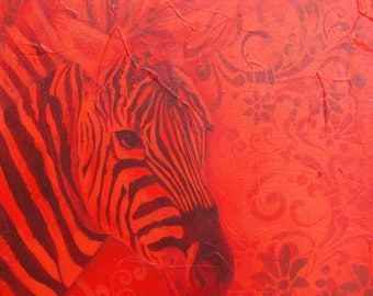 "Acrylic painting on canvas: Red Zebra (""Scarlet"" series)"
