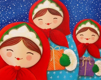 Acrylic painting on canvas: gifts (dolls)