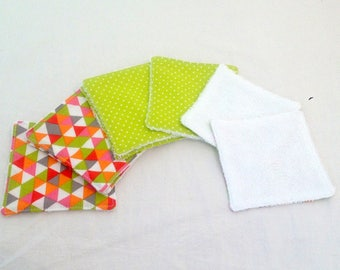 Set of 8 wipes washable cotton and bamboo