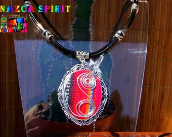 Choker style necklace pendant Native American inspired Aztec jewelry handmade