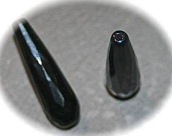 x 2 black Jay jade beads drop elongated faceted 30x11mm