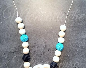 breastfeeding and Babywearing necklace ~ black and turquoise