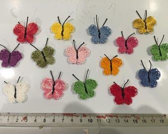 15 butterflies in the hand made crochet, embellishment, scrapbooking, cardmaking, customisation