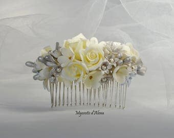 Silver and gold flowers comb