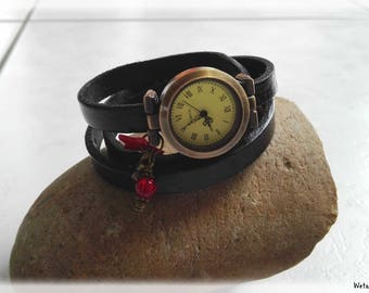 Wristwatch leather 3 laps - dial and charms bronze - adjustable