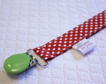 Pacifier cotton red and green polka dots