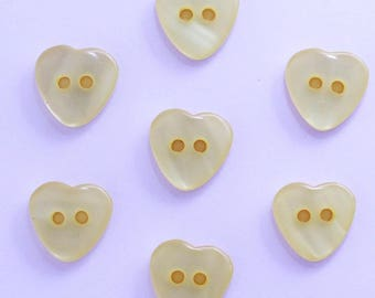 Heart 12mm set of 10 buttons: yellow-002204