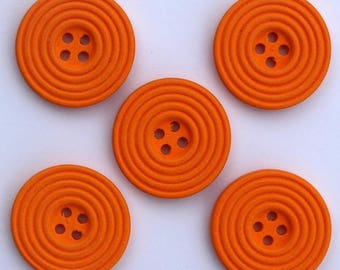 6 x wood Spiral 25 mm buttons: Orange - 02278