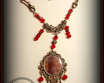 2 in 1 necklace, with hanging mirror, two ways to wear it long or short