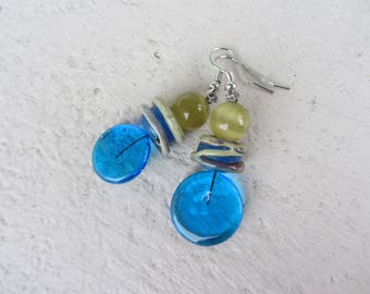 Earrings dangling, pellets and artisan Lampwork Glass rondelles and Pearl round cat's eye, beige gold and bright blue